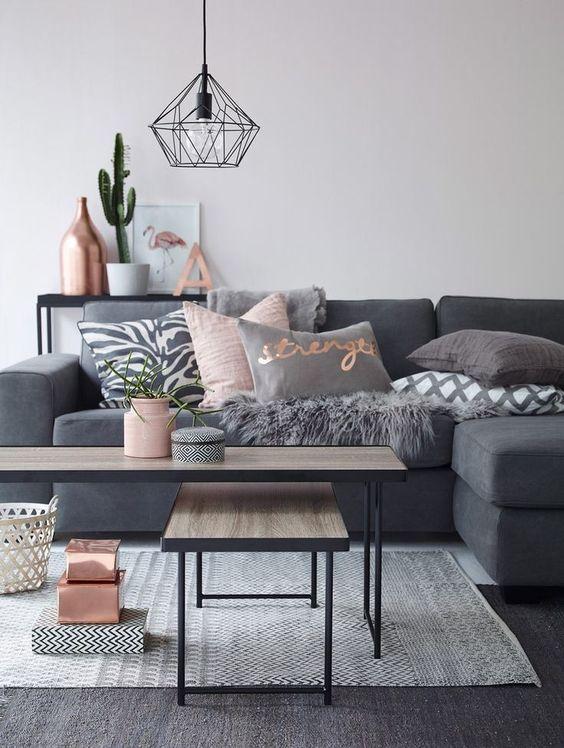 I love the light fixture! // blush & grey living room decor