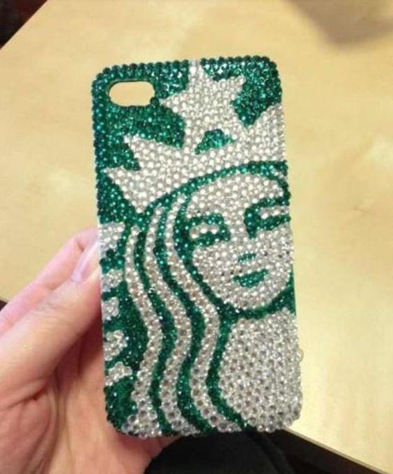 Starbucks Handmade iphone 5 case, iphone 4S case, iphone 4 case, rhinestone, pearl, crystal,bling,cute,birthday gift, iphone accessories