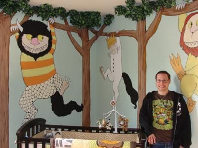 I love this idea!  Take your favorite children's story and paint its characters in a scene on the walls of the nursery.