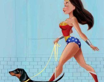 Wonder Woman walking einen Dackel von rubenacker auf Etsy