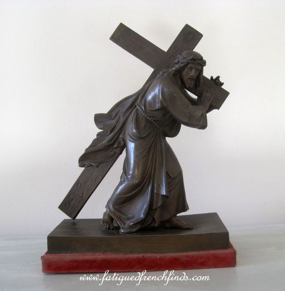 Antique French Bronzed Spelter Figure of Jesus Carrying the Cross on a Red Velvet Mount  www.fatiguedfrenchfinds.com