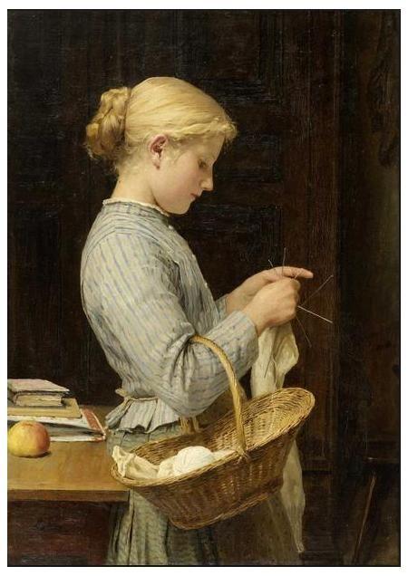 Anker 1888 Strickendes Mädchen (lehnt an Tischkante, Bücher und gelbroter  Apfel auf Tisch)