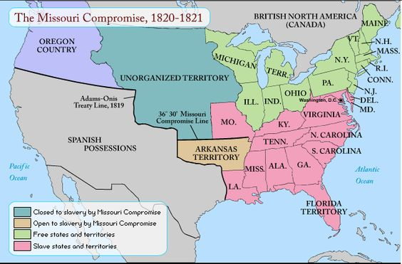 This Is A Map Of The Missouri Compromise Of Now In This - Missouri compromise interactive map