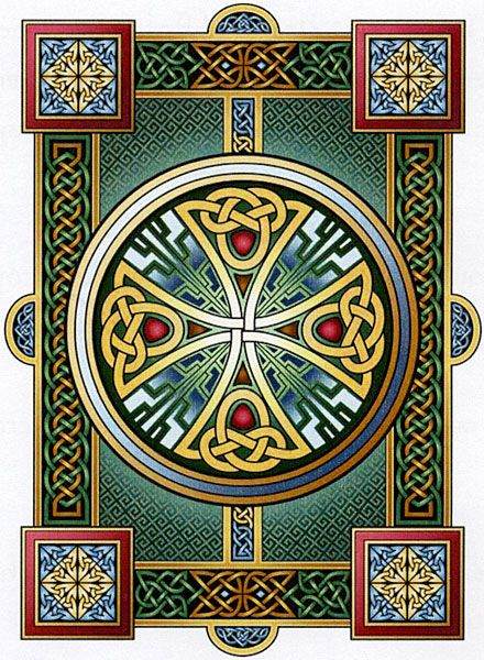 """Durrow"" Cross Stitch Pattern - A classic example of Celtic art, inspired by centuries-old illuminated manuscripts. The jewel-like colors and delicate shading make this pattern come alive. Start stitching your masterpiece today! 330W x 481H (14""W x 18-1/8"" H on 25ct fabric)"