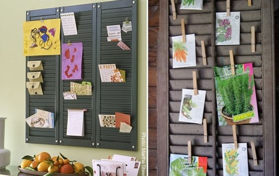 Reclaim old shutters and hang photos with clothespins.