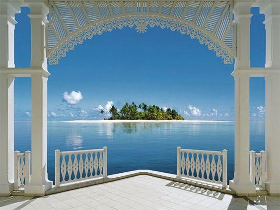 Beautiful View From Window | Beautiful view, beach, blue, green, sea, window