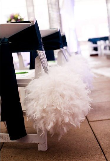 wedding decor, pew decor, aisle decor, wedding aisle, wedding feathers, white feather wedding