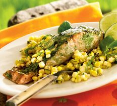Main Courses - Basil-Lime Salmon with Buttery Grilled Corn