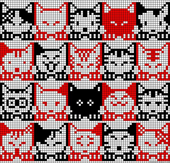 Cat Knitting Pattern Chart : A24595 - friendship-bracelets.net, cat chart for needlepoint or cross stitch ...