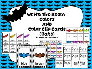 Do your students need continued reinforcement reading and writing color words?  This Write The Room Color has 10 different color bats and a recording sheet.  Students walk around the room find a colored bat and record the color word on their recording sheet next to the letter of the alphabet that is on the card hanging.