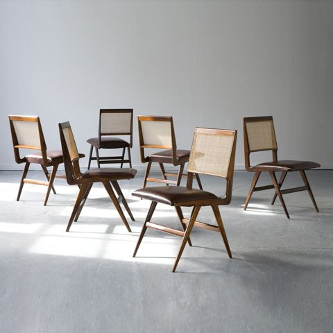 Set of Six Chairs designed by Carlo Hauner and Martin Eisler, the principal  designers for  Brazilian Midcentury Modern Furniture: ...