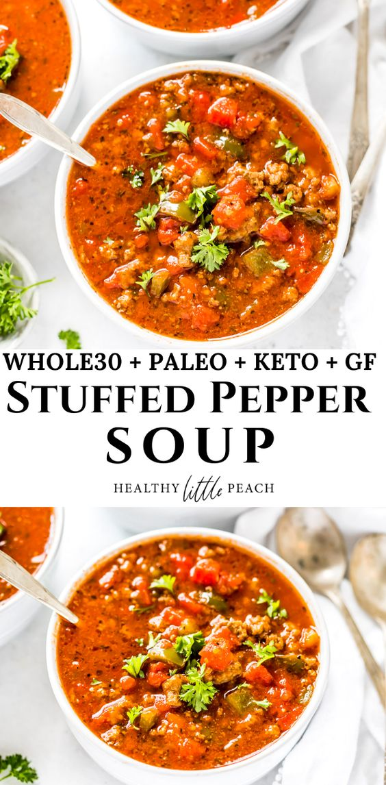 This Stuffed Pepper Soup is filled with ground beef, sausage, peppers, tomatoes, onions and lots of herbs. Perfect for an easy weeknight dinner and can even be poured over a sweet potato to make it even more filling. This recipe is Whole30, Keto and Paleo compliant. #stuffedpeppersoup #ketosoup #paleosoup #whole30soup #whole30recipes #ketorecipes #paleorecipes #souprecipes #fallrecipes soup