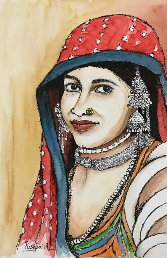 """""""Village woman"""" watercolor and ink pen drawing on paper by Pushpa Sharma"""