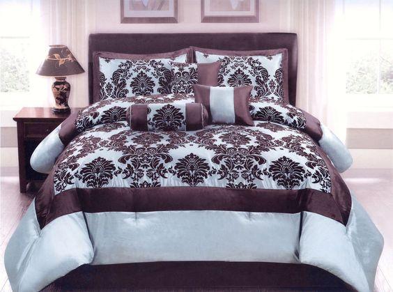 7 Pc Flocking Floral Comforter Set Queen Bed-In-A-Bag