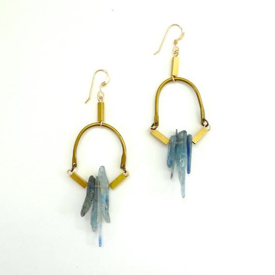 Kyanite Crystal Point and Chain earrings by Noble Town Vintage
