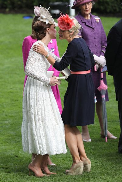 Catherine, Duchess of Cambridge kisses Zoe Warren as she attends the second day of Royal Ascot at Ascot Racecourse  on June 15, 2016 in Ascot, England.: