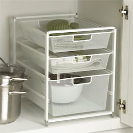 cabinet sized elfa mesh drawer solution under sink