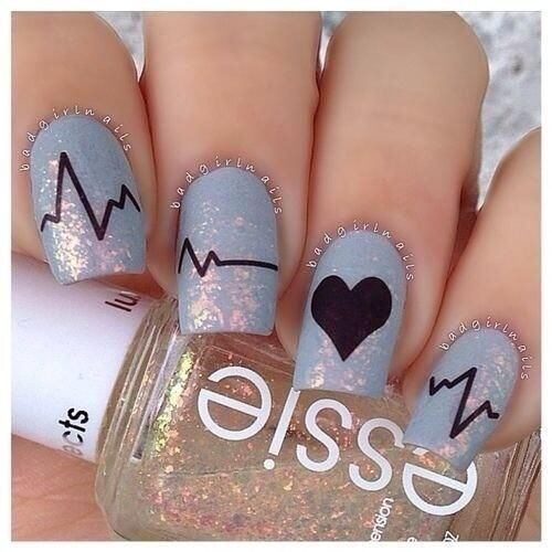 Purple Sparkle Heartbeat Nail Art || These are amazing and adorable! I love the color and the idea of the heartbeat going through each nail. :):