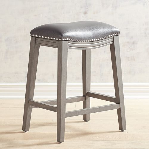 Halsted Petwer Vegan Leather Backless Counter Stool With Stone Gray Wood Pier 1 Imports Backless Bar Stools Leather Counter Stools Counter Bar Stools