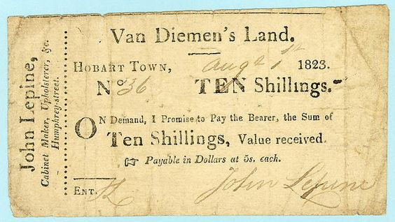 1823 Van Diemenu0027s Land Ten Shilling Promissory Note By John Lepine - demand promissory note