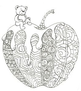 Coloring page for Rosh Hashanah, the Jewish New Year. Apple and honey...and cute bear, too.