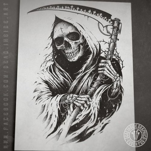 Finoshed One Unused Sketch This Graphic Is For Sale Now Hit Me Up Deadinsideart Gmail Com If Interested Dark Art Tattoo Evil Skull Tattoo Grim Reaper Tattoo