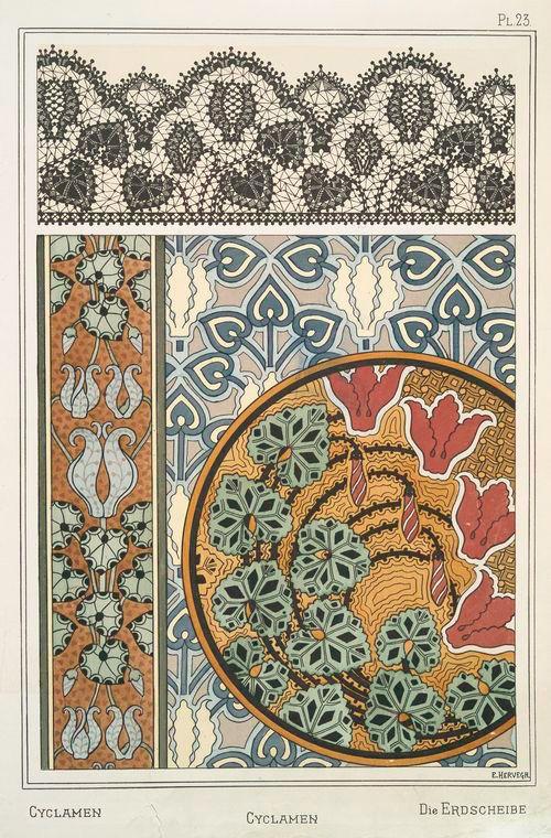 ¤ Eugène Grasset (Swiss, 1841-1917). La plante et ses applications ornementales. Cyclamen. Pl. 23. 1896. I love it !!: