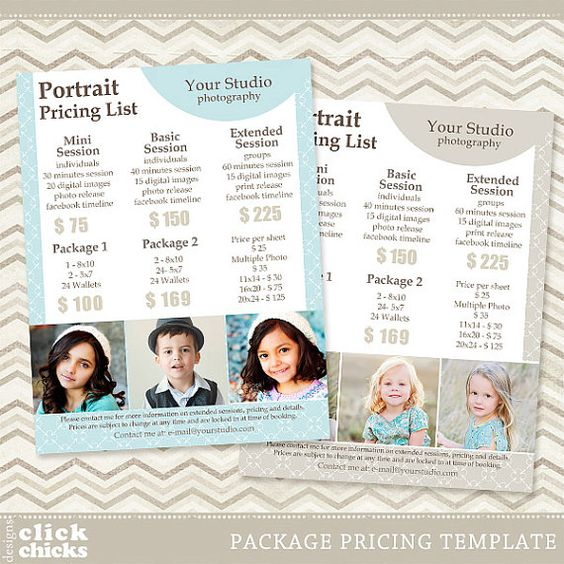 Pricing: Photography Package Pricing List Template