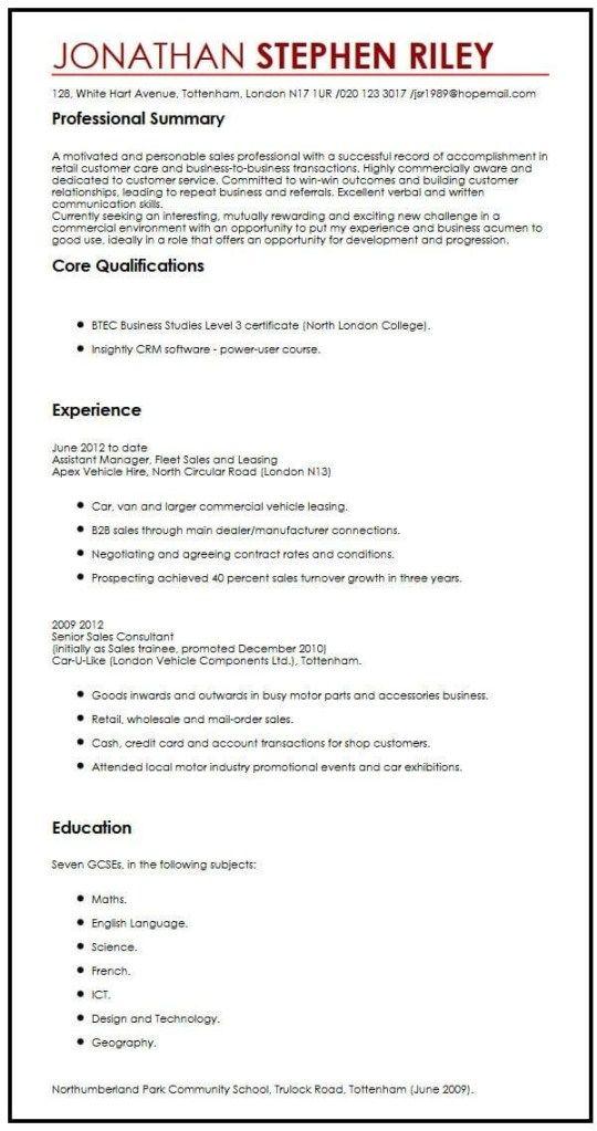 Cv Sample For A Summer Job Myperfectcv Job Resume Examples Job Resume Template Work Experience Cv