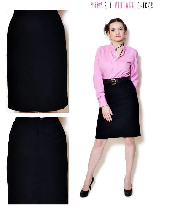 80s pencil skirt black straight french high waisted plain minimal ...
