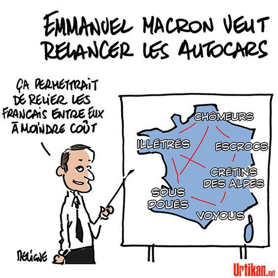 Emmanuel Macron veut vous faire voyager en bus plutôt qu'en train - Dessin du jour - Urtikan.net
