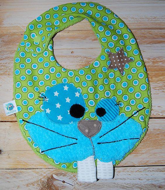 Bavoir bébé original et rigolo avec sa jolie petite tête de lapin ! : Mode Bébé par melinotte