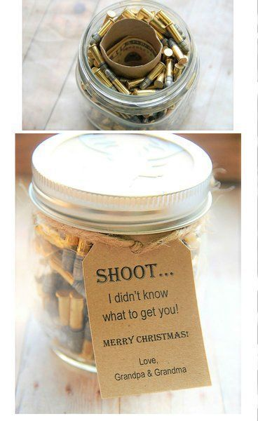 Gift for the hard to buy for man in your life! Great guy gift ~ dad ~ husband ~ Perfect for Christmas ~ Birthday ~ Fathers day ~ bullets in a jar ~ gift in a jar ~ toilet paper roll with money in it ~ Unique cash gift www.KendollMade.com #boyfriendgifts