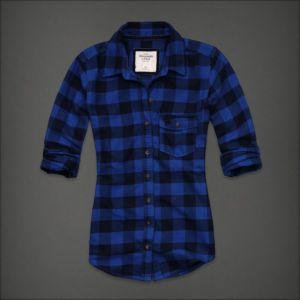 Details about abercrombie fitch women flannel shirt for Womens navy plaid shirt