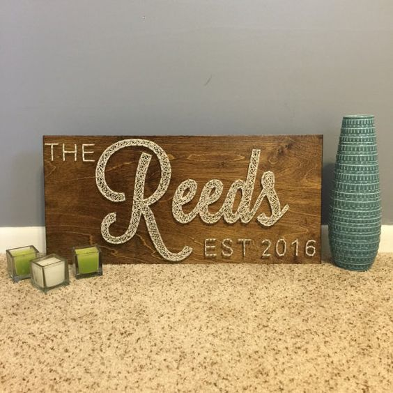 Wedding Gifts For Couples Pinterest : Cursive Family Established sign with year by SeasonOfSeeking