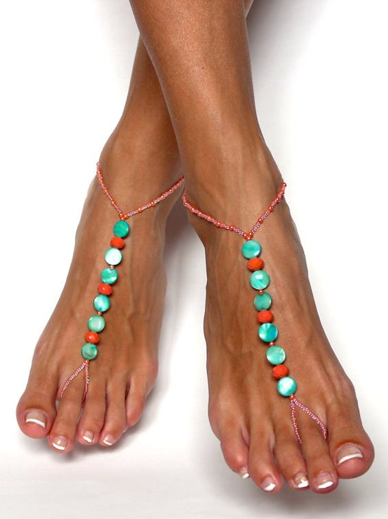 Coral and Green Barefoot Sandals Beaded Foot by BareSandals