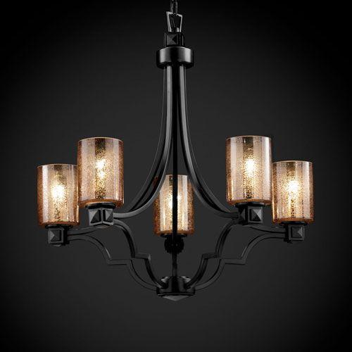 Justice Design Group Fusion Argyle Five Light Matte Black Chandelier On SALE