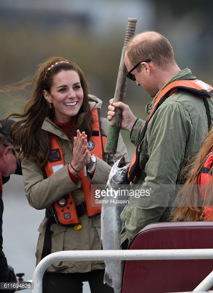 Prince William Duke of Cambridge and Catherine Duchess of Cambridge take part on a fishing boat trip on September 30 2016 in Haida Gwaii Canada