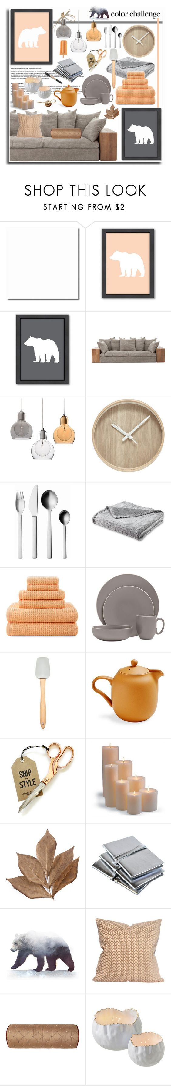 """""""Peach and Gray Home"""" by leegal57 ❤ liked on Polyvore featuring interior, interiors, interior design, home, home decor, interior decorating, Americanflat, Georg Jensen, JCPenney Home and Vera Wang"""