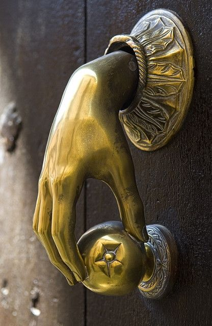 Antique Door Knocker I think I'll knock on the door with this piece of fruit: