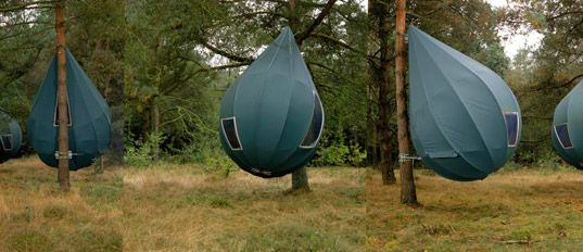 "Raindrop-Shaped Treetents - ""Each beautifully formed droplet attaches directly to a tree trunk and is roomy enough to sleep a family of four."""