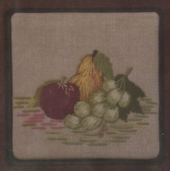 "Apples, Pears, Grapes Crewel Kit from Custom House: This Crewel Embroidery Kit includes a pre-printed 100% linen canvas, yarn and needles as well as detailed instructions. Please note: embroidery hoop is not included. Design size: 5"" square Regular price is $10.00.  On sale at 40% off for $6.00 $6.00"