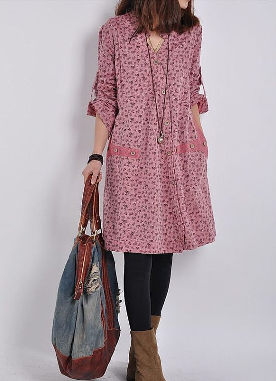 Cotton dress long sleeve dress casual loose by PerfectChlothing ...