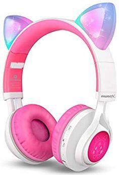 Amazon Com Riwbox Ct 7 Fones De Ouvido Bluetooth Com Orelha De Gato Luz Led Bluetooth Sem Fio Fones De Ouvi In 2020 Kids Headphones Bluetooth Headphones Headphones