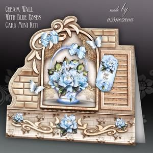 Cream Wall With Blue Roses Card Mini Kit
