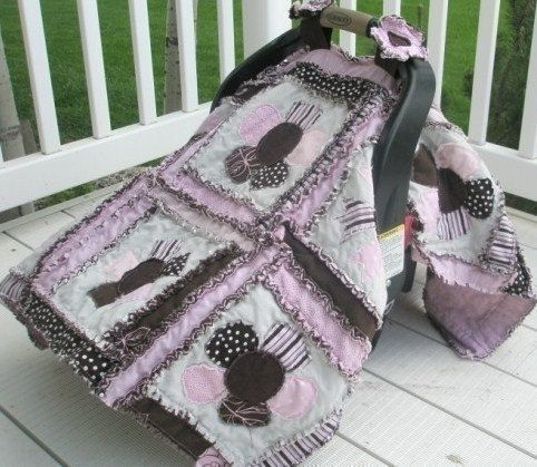 CAR Seat COVER, Sewing Pattern, Rag Quilt, Baby Blanket, Flower Applique, PDF, Instant Download