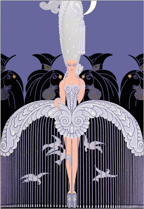 Her Secret Admirers. . .Erte's skirts are also fascinating.  He frequently traps birds under there.