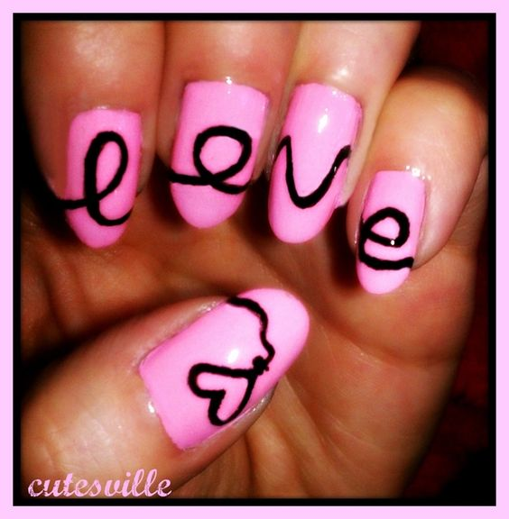 Nails w/ neon pink!  So summer!: Love Nails, Makeup Nails, Nails Nails, Nail Designs, Hair Beauty, Nailss, Valentine, Nail Art