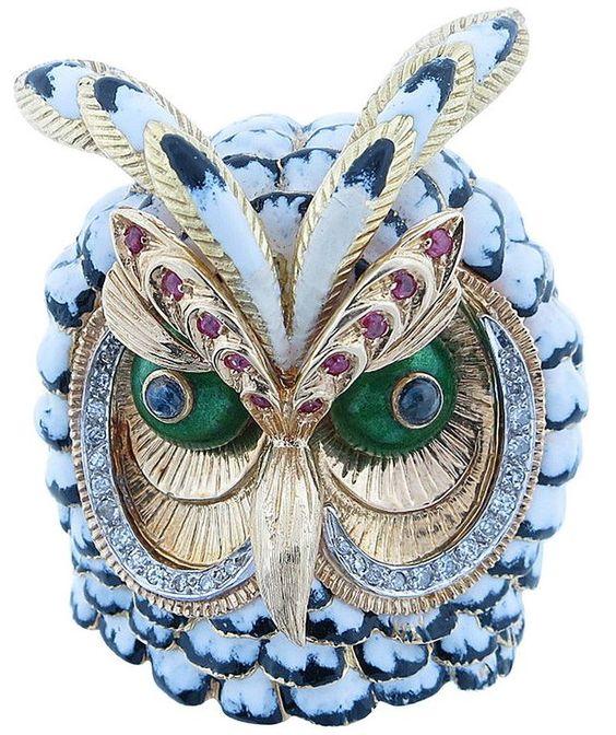 Enamel, Ruby, Sapphire, and Diamond Gold Owl Brooch: