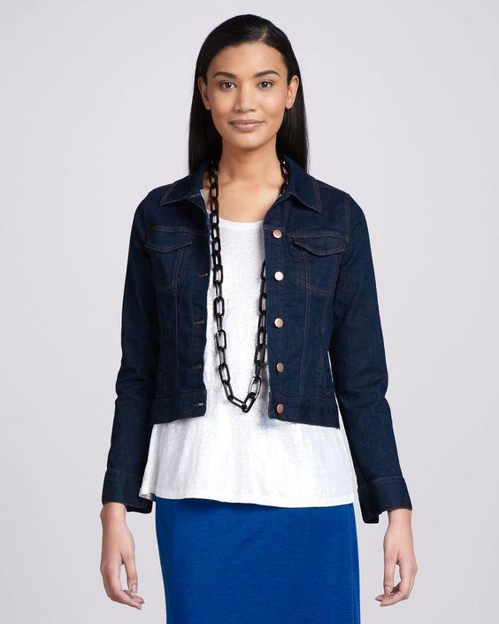 Eileen Fisher Cropped Jean Jacket, Blue
